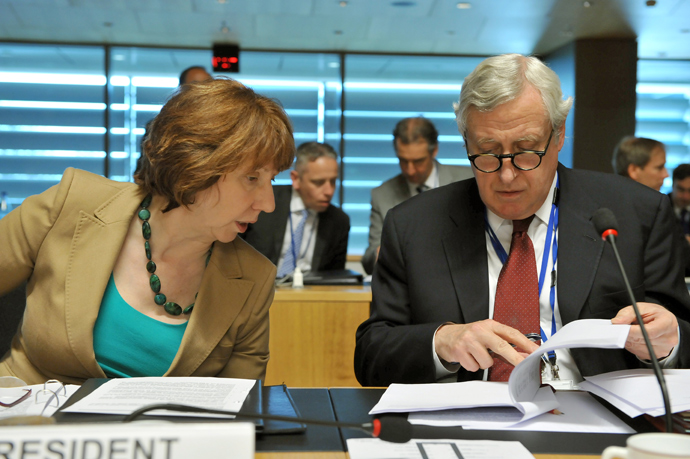High Representative of the European Union for Foreign Affairs and Security Policy Catherine Ashton (L) talks to General Secretary for EU external Affairs Pierre Vimont (LtR) prior an Foreign Affairs Council on April 22, 2013 at the Kirchberg conference center in Luxembourg (AFP Photo Georges Gobet)