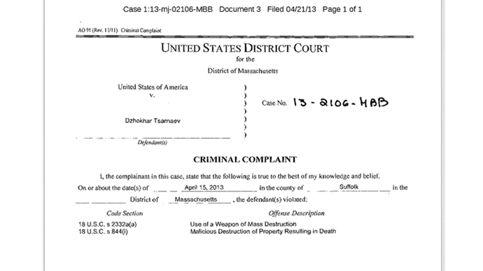 Screen shot of charges, FBI affidavit against Dzhokhar Tsarnaev in the Boston Marathon bombings (Image from www.justice.gov)