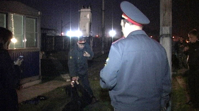 A suspect in the Belgorod shooting was captured on April 23, 2013. (RIA Novosti / Ministry of Interior)