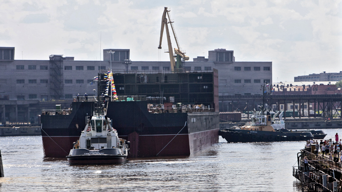Launching of Academician Lomonosov Floating Nuclear Power Plant Unit at Baltiysky Zavod Shipyard. (RIA Novosti / Alexey Danichev)
