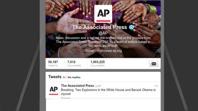 AP Twitter account hacked, 'explosions at White House' tweet crashes DOW