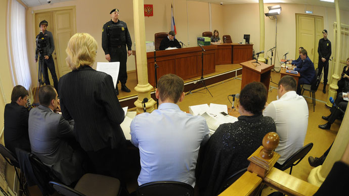 Opposition leader and blogger Aleksey Navalny at Kirov's Lenin District Court. (RIA Novosti / Ramil Sitdikov)