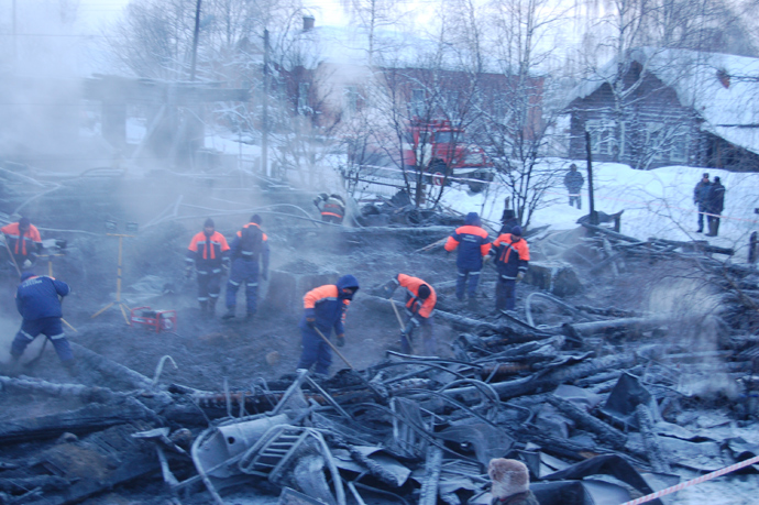 23 people died in a fire at a wooden care home in the village of Podyelsk, Republic of Komi (RIA Novosti)