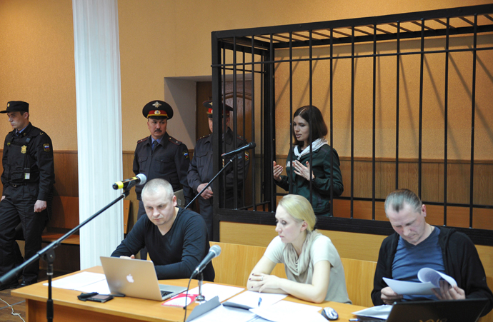 Pussy Riot member Nadezhda Tolokonnikova at a hearing of her parole application at the Zubovo-Polyansky District Court in Mordovia on April 26, 2013. (RIA Novosti / Maxim Blinov)
