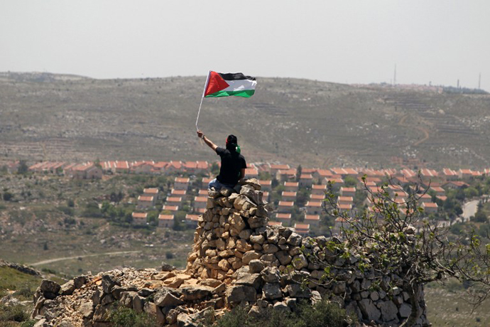 A Palestinian demonstrator from the West Bank village of Deir Jarir waves his national flag as he sits on a pile of rocks during clashes with Israeli soldiers on April 26, 2013. (AFP Photo / Abbas Momani)