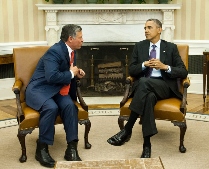 US President Barack Obama meets with King Abdullah II of Jordan in the Oval Office at the White House in Washington,DC on April 26, 2013. (AFP Photo / Nicholas Kamm)