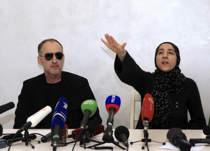 Anzor Tsarnaev (L) and Zubeidat Tsarnaeva, parents of Tamerlan and Dzhokhar Tsarnaev - the two men suspected of carrying out the Boston bombings, take part in a news conference in Makhachkala April 25, 2013. (Reuters)