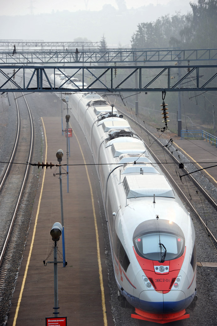"""Sapsan"" high-speed electrical train, running between St.Petersburg and Nizhny Novgorod, is seen at the Vladimir terminal (RIA Novosti/Vladimir Vyatkin)"