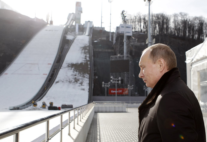 "Russia's President Vladimir Putin visits the ""RusSki Gorki"" Jumping Center at the Krasnaya Polyana resort near the Black Sea city of Sochi February 6, 2013 (Reuters/Sergei Karpukhin)"