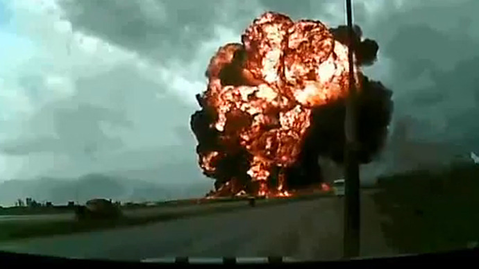 US Boeing 747 crash and burn caught on dashcam in Afghanistan (VIDEO)