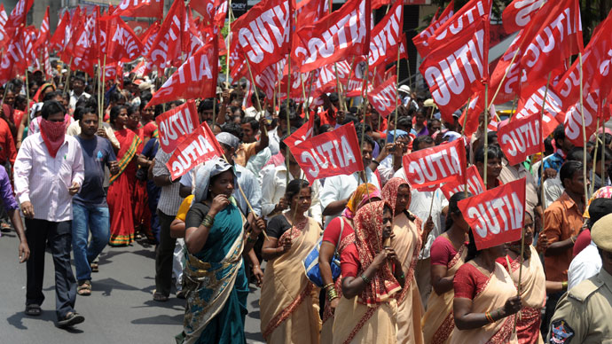 Indian members of The All India Trade Union Congress (AITUC) take part in a rally in Hyderabad on May 1, 2013.(AFP Photo / Noah Seelam)