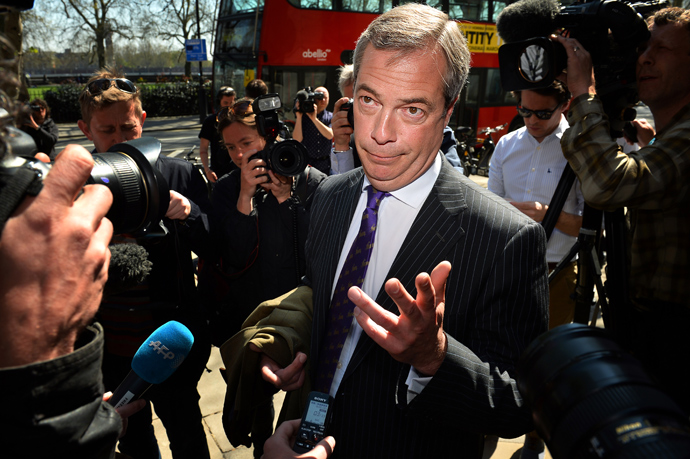 UK Independent Party (UKIP) leader Nigel Farage addresses the media in central London on May 3, 2013 (AFP Photo / Ben Stansall)