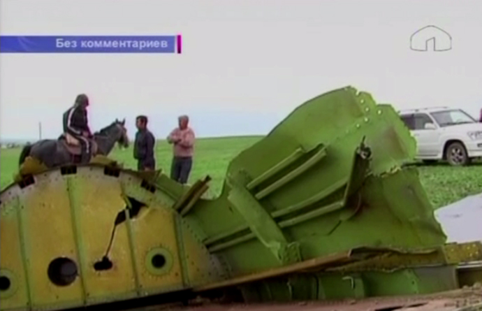 Video still of Kyrgyzstan's KTRK footage shows the US military cargo plane wreck. The KC-135 has crashed at the Kazakhstan-Kyrgyzstan border after taking off from the American base in Manas.