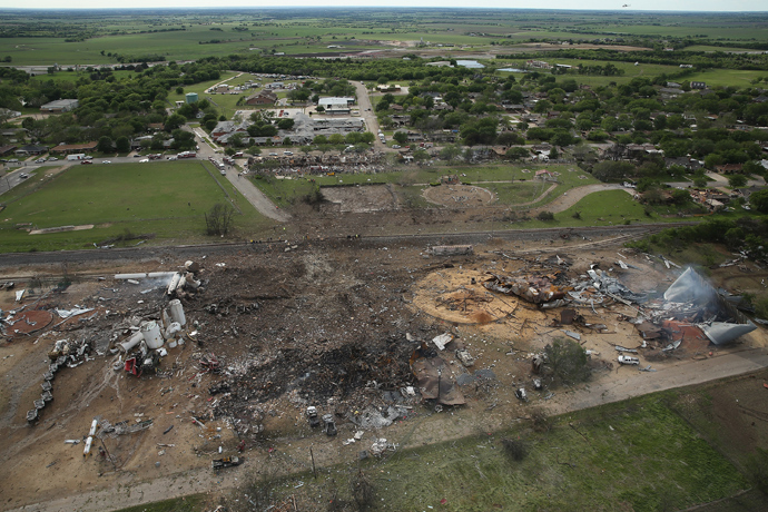 The West Fertilizer Company, shown from the air, lies in ruins on April 18, 2013 in West, Texas (AFP Photo / Chip Somodevilla)