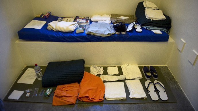 "Standard items issued to a detainee in the ""Camp Five"" detention facility of the Joint Detention Group at the US Naval Station in Guantanamo Bay, Cuba (AFP Photo / Jim Watson)"