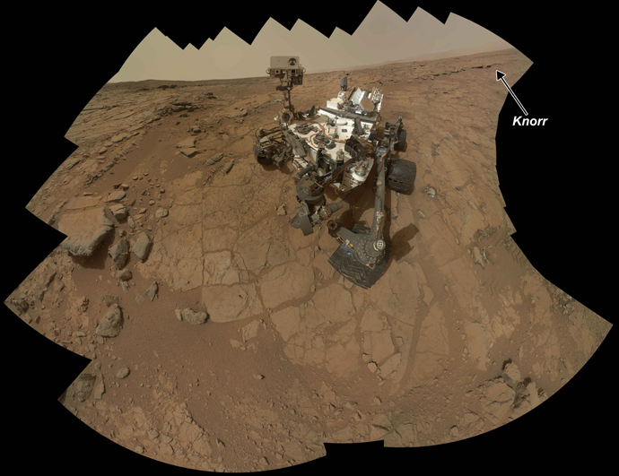This handout provided March 18, 2013 by NASA shows a self-portrait of NASA's Mars rover Curiosity combining 66 exposures taken by the rover's Mars Hand Lens Imager (MAHLI) during the 177th Martian day, or sol, of Curiosity's work on Mars (Feb. 3, 2013) (AFP Photo / NASA)
