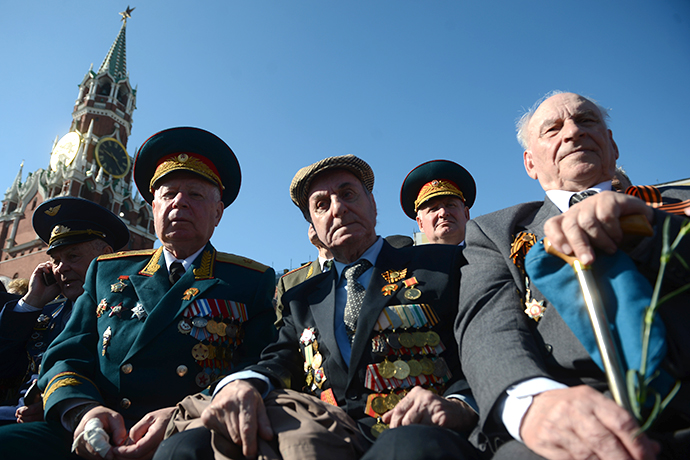 Veterans on Red Square before the military parade marking the 68th anniversary of victory in the Great Patriotic War. (RIA Novosti / Vladimir Astapkovich)