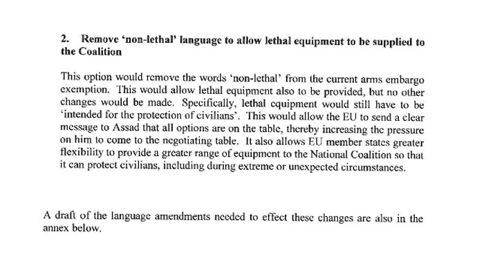 "Remove ""non-lethal"" language to allow lethal equipment to be supplied to the Coalition"