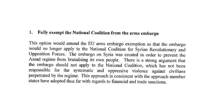 Fully exempt the National Coalition from the arms embargo
