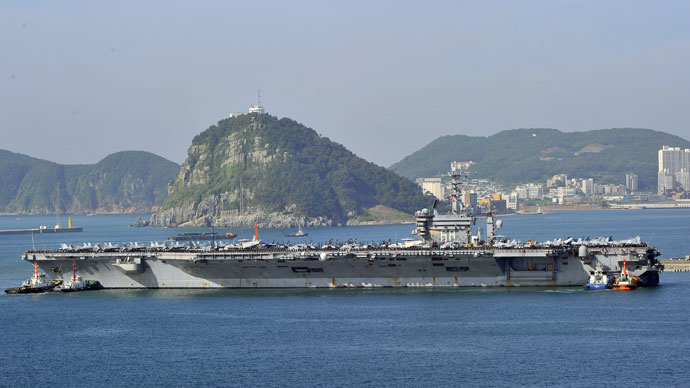 US nuclear powered aircraft carrier USS Nimitz arrives at the southern port city of Busan on May 11, 2013.(AFP Photo / Jung Yeon-Je)