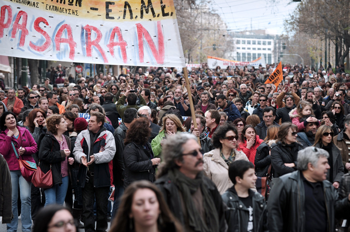 Greek teachers and students take part in a protest march in central Athens on March 2, 2013 against cutbacks in the public education system due to the government's austerity measures (AFP Photo)