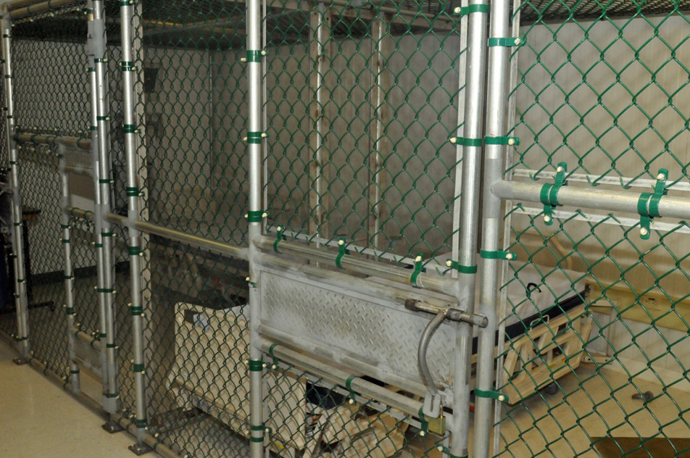 Overnight medical stay area inside the Joint Medical Group where the detainees receive medical care, Naval Station Guantanamo Bay, Cuba, April 10, 2013. (Image from publicintelligence.net / photo By Army Sgt. Brian Godette)