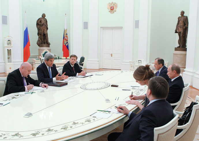 May 7, 2013. Russian President Vladimir Putin, third left, seen during a meeting withthe US Secretary of State John Kerry, second left, in the Kremlin. Background right: Sergei Lavrov, Russian Foreign Minister.(RIA Novosti / Mikhail Klimentyev)