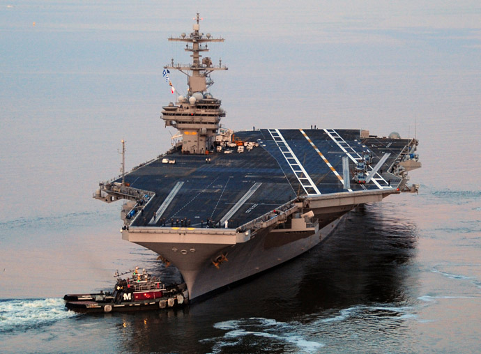 This US Navy photo shows the Nimitz-class aircraft carrier USS George H.W. Bush (AFP/US NAVY/Nicholas Hal)
