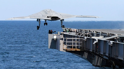 Unmanned drone makes first landing on US Navy aircraft carrier (VIDEO)