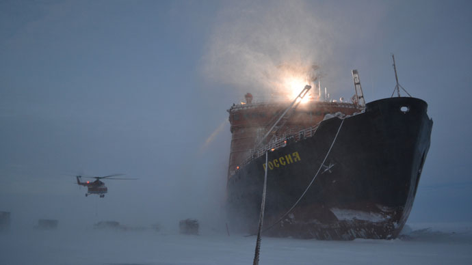 The icebreaker, on which the Russian polar explorers traveled to the Arctic to set up a new drifting station SP-40 (RIA Novosti / Anna Yudin)