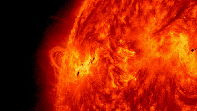 NASA's Solar Dynamics Observatory captured this image of the X1.2 class solar flare on May 14, 2013. The image show light with a wavelength of 304 angstroms. Photo from nasa.gov