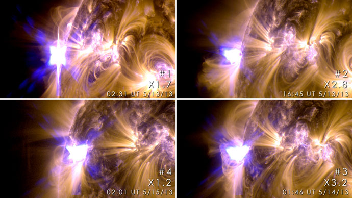 These images from NASA's Solar Dynamics Observatory show four X-class flares emitted on May 12-14, 2013 – the first four X-class flares of 2013.Photo from nasa.gov