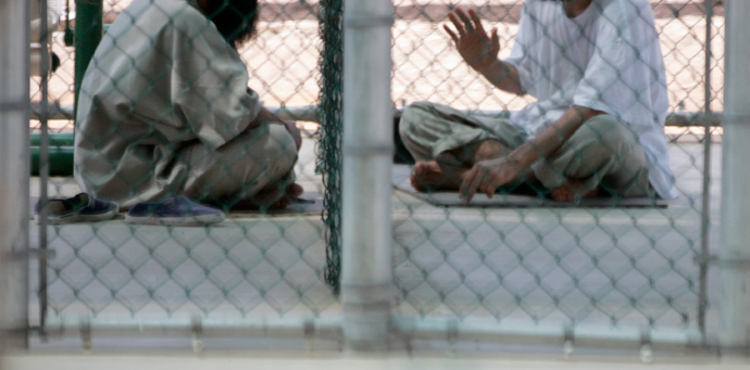 Detainees speak in the recreation area in Camp Six, the highest security prison at the Guantanamo Bay Naval Station in Guantanamo Bay, Cuba (Reuters / Joe Skipper)