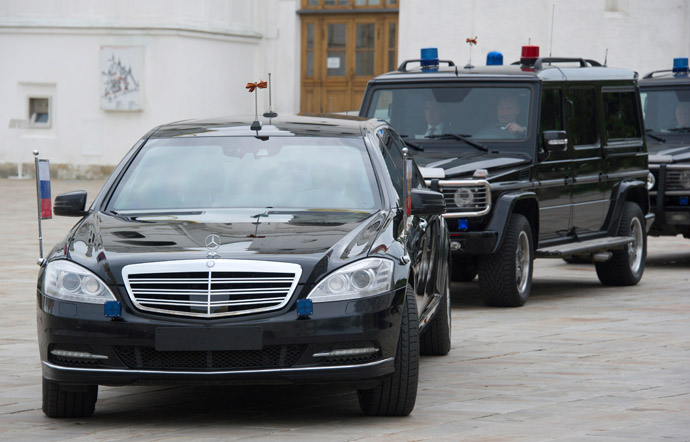 Motorcade of Russian President Vladimir Putin in the Kremlin. (RIA Novosti)