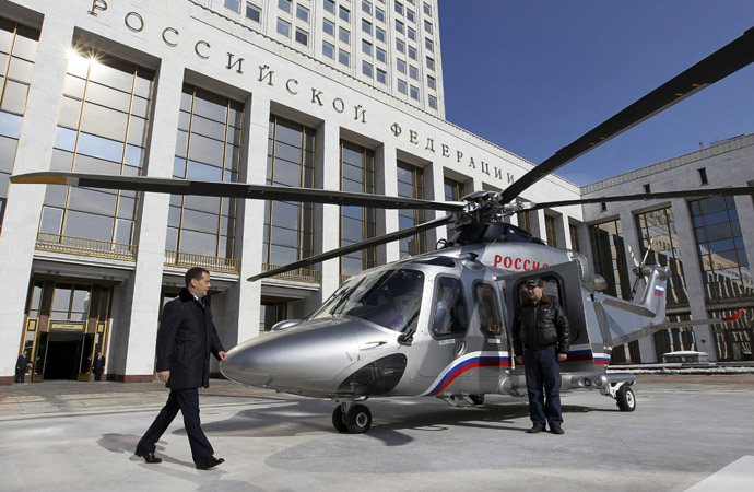 Russian Prime Minister Dmitry Medvedev on the helipad in front of the Russian Federation Government House in Moscow. (RIA Novosti/Ekaterina Shtukina)