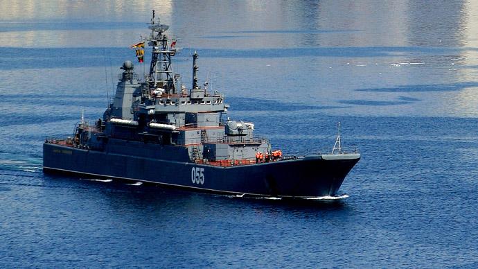 "Pacific Fleet's large amphibious ship ""Admiral Nevelsky"" (RIA Novosti/Ildus Gilyazutdinov)"