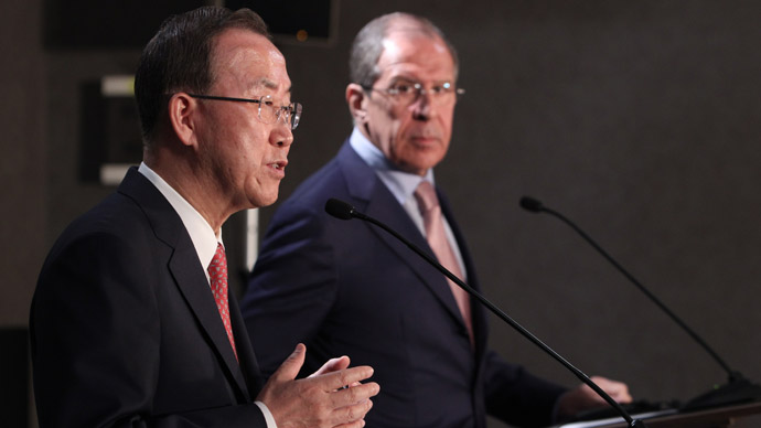 UN Secretary-General Ban Ki-moon, left, and Russian Foreign Minister Sergey Lavrov at a news conference following the talks in Sochi. (RIA Novosti)