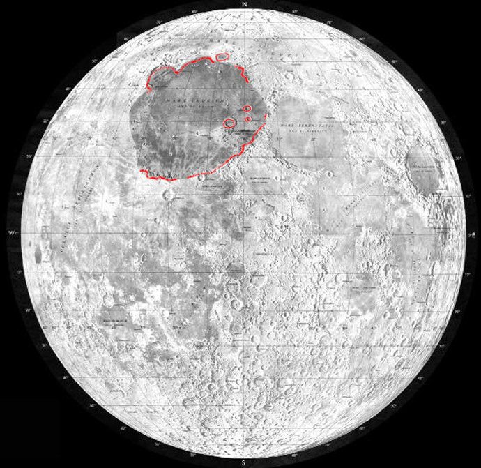 The moon's 'Mare Imbrium'. Image from Wikipedia