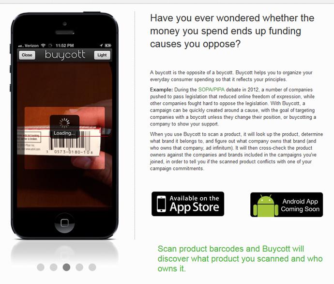 Screenshot from buycott.com