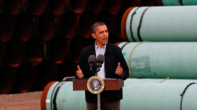 President Barack Obama speaks at the southern site of the Keystone XL pipeline on March 22, 2012 in Cushing, Oklahoma (AFP Photo / Tom Pennington)