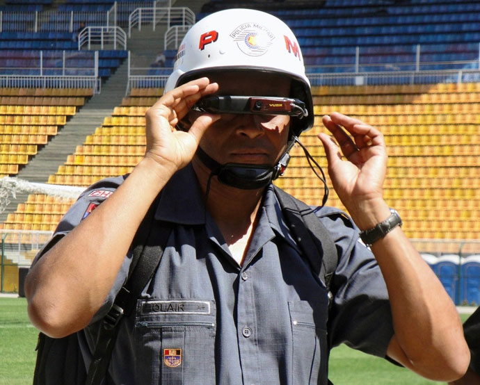 A Brazilian military police officer scans a stadium using facial recognition technology.(Sao Paulo Military Police)