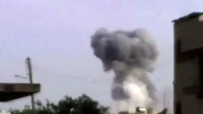 Qusair town near Homs. (An image grab taken from a video)