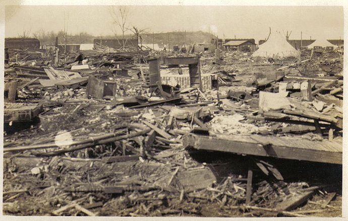 Destruction of Griffin, Indiana in the 1925 Tri-State Tornado. (Image from wikipedia.org)