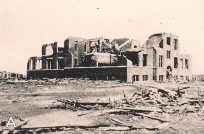 This is a photograph of damage to the Longfellow school in Murphysboro (IL) where 17 students were killed by the Tri-State Tornado of 18 March 1925. (Image from wikipedia.org)