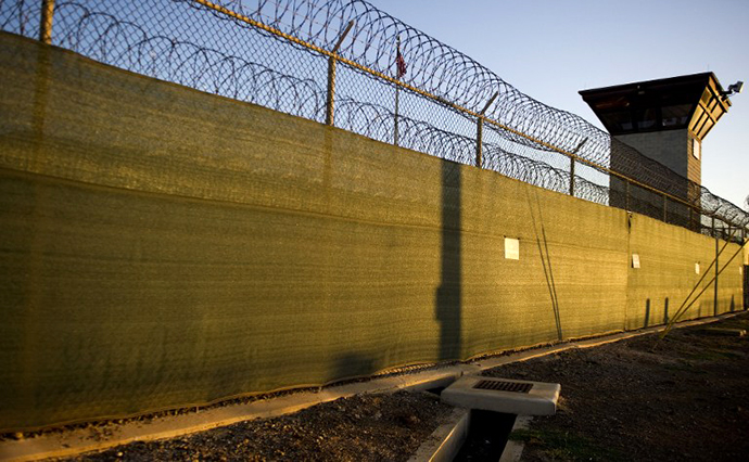 "The guard tower of ""Camp Six"" detention facility of the Joint Detention Group at the US Naval Station in Guantanamo Bay, Cuba. (AFP Photo / Jim Watson)"