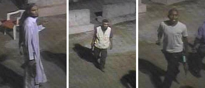 These images released by the FBI on May 1, 2013, show three unknown suspects sought in the Benghazi, Libya, attack on the US Consulate on September 1, 2012. (AFP PHOTO / FBI)
