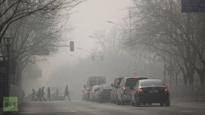 People walk during a heavily hazy winter day in central Beijing, January 12, 2013 (Reuters / Jason Lee)