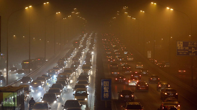 Vehicles drive on the Third Ring Road on a very hazy winter day in Beijing January 12, 2013 (Reuters / Jason Lee)