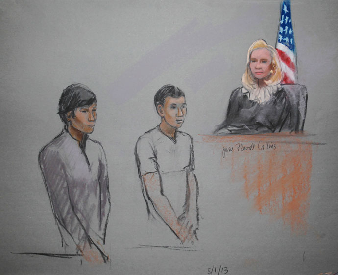 Defendants Dias Kadyrbayev (L) and Azamat Tazhayakov are pictured in a courtroom sketch, appearing in front of Federal Magistrate Marianne Bowler at the John Joseph Moakley United States Federal Courthouse in Boston, Massachusetts May 1, 2013.(Reuters / Jane Flavell Collins)