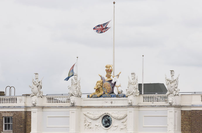 The Union Jack flag flies at half mast over Woolwich Barracks in London on May 23, 2013.(AFP Photo / Justin Tallis)